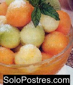 Bolitas de melón a la moca