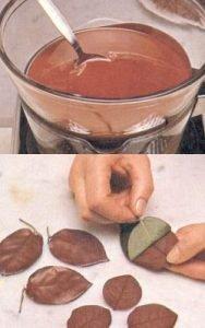 Como preparar hojas de chocolate