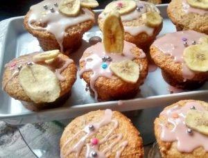 Muffins vegano de banana y coco sin huevos, sin leche...