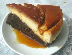 Postre sorpresa de flan y torta