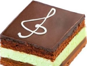 brownie y mousse de menta