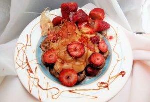 waffles con crema de naranja
