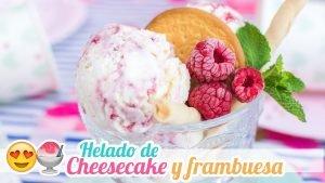 Helado de Cheesecake con Frambuesa