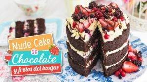 Nude cake de chocolate y frutos del bosque