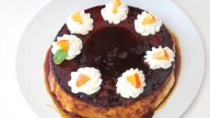 Flan sin horno con sabor a naranja